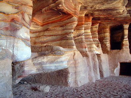 Kokh-type tombs cut into the multicoloured sandstone of Petra, Jordan PetraSandStoneRock-cut tombs.jpg