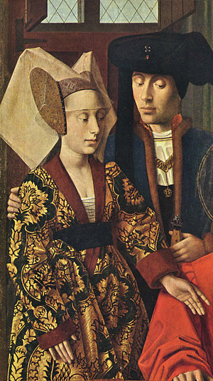 1400–1500 in European fashion - Bold pomegranate- or artichoke-patterned silks are characteristic of the 15th century, as are richly coloured velvets and woolens. Fine linen was important for headdresses and for the shirts and chemises revealed by new lower necklines and slashing.