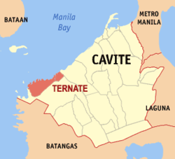 Map of Cavite showing the location of Ternate.