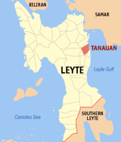 Map of Leyte with Tanauan highlighted