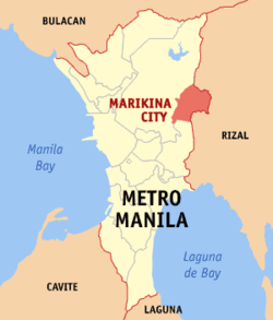 Map of Metro Manila showing the location of Marikina City.