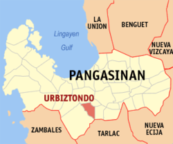 Map of Pangasinan with Urbiztondo highlighted