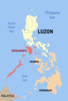 Map of the Philippines showing the location of Region IV-BMIMARO