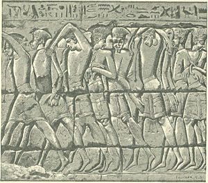 Philistines - Peleset, captives of the Egyptians, from a graphic wall relief at Medinet Habu, in about 1185-52 BC, during the reign of Ramesses III