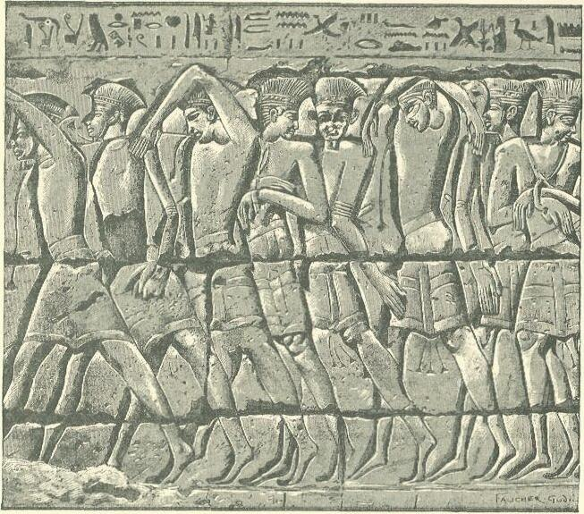 Philistine captives at Medinet Habu