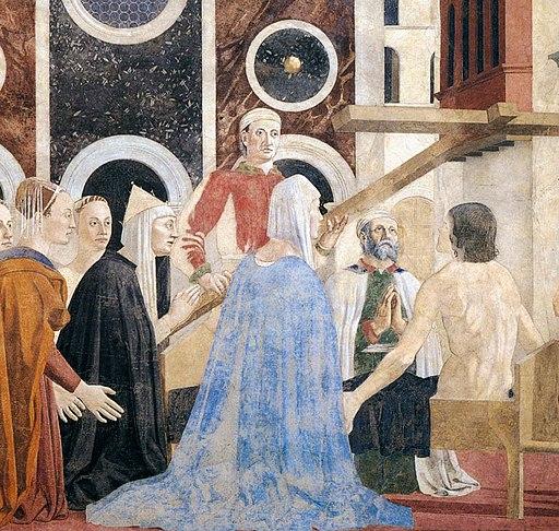 Piero della Francesca, Le Storie della Vera Croce, Verifica e Adorazione della Croce (particolare), Basilica di San Francesco, Arezzo