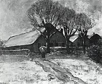 Piet Mondriaan - Winter landscape with three farm buildings - A80 - Piet Mondrian, catalogue raisonné.jpg