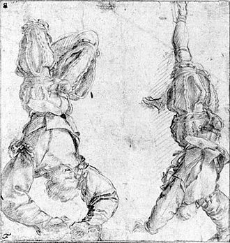 Pittura infamante - Preparatory drawings for pittura infamante by Andrea del Sarto