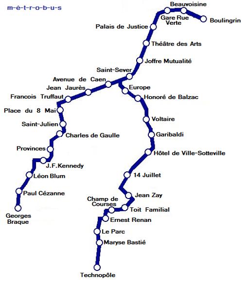 Plan Metro de Rouen