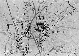croquis représentant un plan de Belfort en 1815