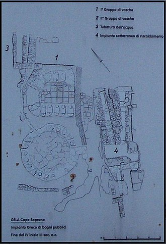 Greek baths of Gela - The plan of the baths in a plaque of the Soprintendenza of Caltanissetta