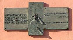 Plaque at Klaus Kinski's birthplace in Sopot 3.jpg