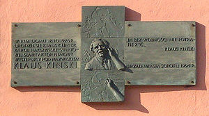 Klaus Kinski - Plaque marking Kinski's birthplace in Sopot