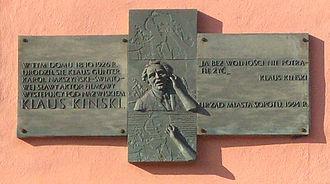Klaus Kinski - Plaque marking Kinski's birthplace in Sopot