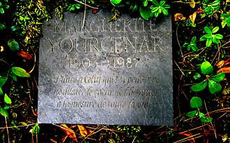 "Marguerite Yourcenar - Marguerite Yourcenar's funeral plate. The epitaph, written in French, is from The Abyss: «Plaise à Celui qui Est peut-être de dilater le cœur de l'homme à la mesure de toute la vie.», which can be translated to ""May it please the One who perchance is to expand the human heart to life's full measure."""