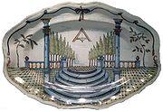 Plat maçonnique en Faïence France, XVIIIesiècle