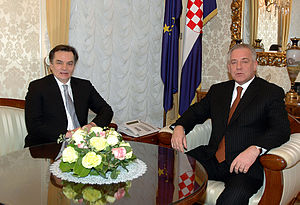 Bosnia and Herzegovina–Croatia relations - Bosnian Presidency member Haris Silajdžić and former Prime Minister Ivo Sanader discuss Croatian-Bosnian relations, cooperation in energy, and the continuation of Euro-Atlantic integration processes.