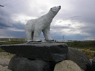 Churchill, Manitoba - Polar bear statue in Churchill, Manitoba, Canada