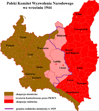 Polish Committee of National Liberation - Lands administered by the Committee in September 1944 (pink)