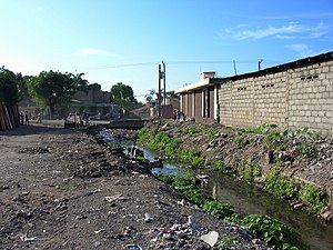 Absence d'assainissement à Cap-Haïtien, Haïti: les déchets à même le sol (incluant des sacs plastiques remplis d'excréments) bloquent les canaux de drainage qui débordent à la moindre pluie, et endommagent les infrastructures riveraines (routes, bâtiments...).