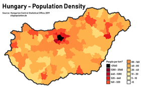 Population density in Hungary
