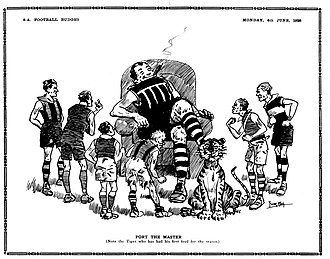 Port Adelaide Football Club - Left: Port Adelaide players with the 1921 SAFL premiership flag pennant presented to them during half time of the opening match of the 1922 SAFL season at Adelaide Oval. Right: Cartoon from the South Australian Football Budget after Port Adelaide's start to the 1928 SANFL season.