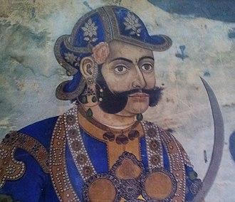 Sideburns - Portrait of Prime Minister and Commander in Chief of the Kingdom of Nepal,  Mathabar Singh Thapa, showing sideburns style worn by Hindu Kshatriya (warrior) military commanders in the Indian subcontinent.