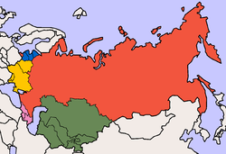Typical groupings of the post-Soviet states: Red: Russia Green: Central Asia Yellow: Eastern Europe/Western CIS Blue: Baltic states Pink: Caucasus
