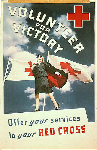 American Red Cross - A World War II-era poster encouraged American women to volunteer for the Red Cross as part of the war effort.