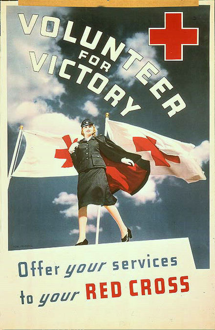 A World War II-era poster encouraged American women to volunteer for the Red Cross as part of the war effort. Poster-red-cross-volunteer-for-victory.jpg
