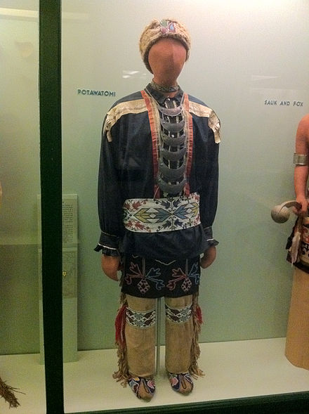 Traditional Potawatomi regalia on display at the Field Museum of Natural History Pottawatomi Fashion at the Field Museum in Chicago.jpg