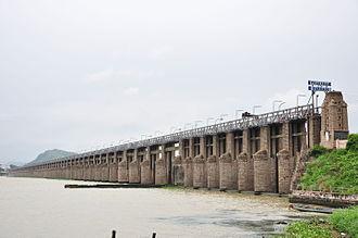 Krishna district - Prakasam Barrage at Vijayawada across Krishna River