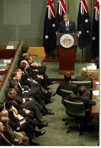 Kerry Nettle - George W. Bush addresses the joint sitting of Australian Parliament in 2003