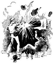 A drawing depicting two sailors behind an exploding cannon. One sailor is shown falling onto the deck of the ship towards the lower right of the frame. Pieces of metal from the exploding cannon are shown moving towards the upper right of the frame. Several loose cannonballs are at the lower part of the frame. The other sailor is still behind the cannon, apparently as yet unharmed.