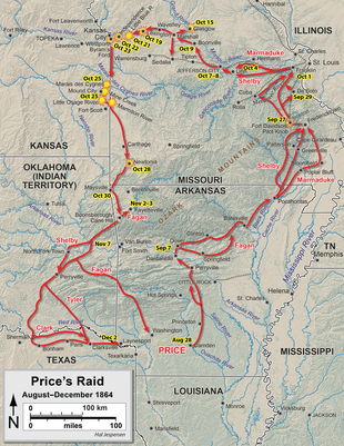 Map showing the movements of Price's army, see accompanying text for description