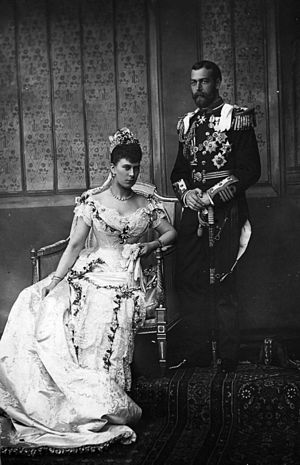 HDMY Dannebrog (1879) - the Duke of York and the Baden-Württemberg Princess Mary of Teck on their wedding day in 1893.