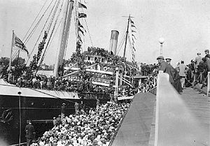 SS Princess Sophia - Princess Sophia departing Victoria c. 1915 with troops bound for the Great War