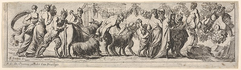 File:Procession of satyrs and draped figures leading two goats and cow to sacrifice, at right the figure of Pan stands on a rocky pedestal, from a series of twelve frieze-like designs showing bacchanals, sacrifices, and dances MET DP833479.jpg