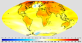 Projected change in annual mean surface air temperature from the late 20th century to the middle 21st century, based on SRES emissions scenario A1B.png