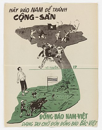 """Operation Passage to Freedom - Propaganda poster exhorting Northerners to move South-title: """"Go South to avoid Communism"""". Bottom caption: """"People of Southern Vietnam are welcoming with open arms Northern Vietnamese people."""""""