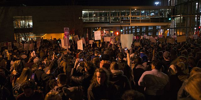 From commons.wikimedia.org: Protest against Donald Trump {MID-77392}