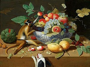 Pseudo-Jan van Kessel the Younger - Still life of fruit with a monkey and a dog
