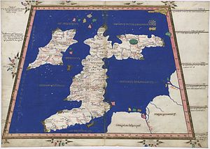 Cantre'r Gwaelod - Ptolemy's map of Great Britain and Ireland (1467 copy)