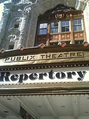 Paramount Pictures - Detail of Publix Theatre logo on what is now Indiana Repertory Theatre.