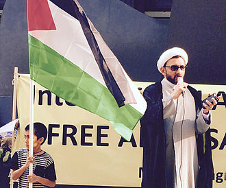 Quds Day - Shamshad Haider from the Muslim Congress speaking during the 2015 Quds rally, Chicago.