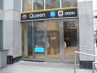 Queen station - Entrance on the north side of the Maritime Life Tower is the designated Wheel-Trans pick up location