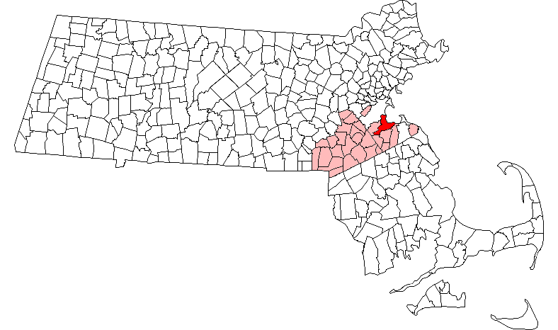 Location of Quincy in Norfolk County, Massachusetts