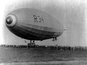 Rigid airship - The British R34 in Long Island during the first ever return crossing of the Atlantic in July 1919
