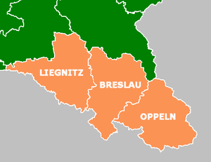 Province of Lower Silesia - Map of Silesia, showing the historical location of Lower Silesia (Liegnitz), Middle Silesia (Breslau), and Upper Silesia (Oppeln)