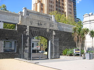 RMIT University - Alumni Courtyard was created from the ruins of the Old Melbourne Gaol